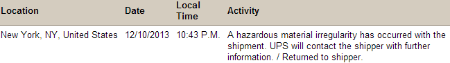 UPS and the Hazardous Material Irregularity