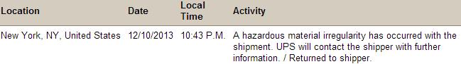 UPS  Tracking Information - HAZMAT